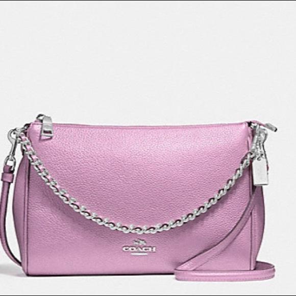 3930f96ec73 NWT COACH silver chain purple Crossbody bag NWT